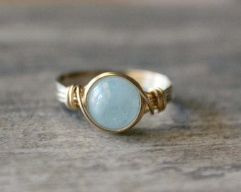 Fall Sale Aquamarine Ring, 14k Gold Filled Aquamarine Wire Wrapped Ring Gemstone Ring, Stone Ring