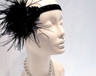 Great Gatsby- 1920s Head Wrap- Gatsby Style-Prohibition Party- Flapper- 1920s Hair Accessory- Art Deco -Twenties- Feather headband- Gatsby