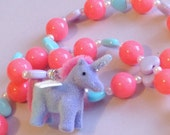 Fairy Kei Fantasy - Pastel Heart and Neon Pink Bead Stretch Necklace with Blue and Purple Fuzzy Unicorn Charm and Tiny Faux Pearls