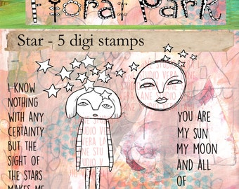 Star - whimsical star gal with moon, trail of stars and two inspiring sentiments