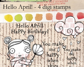 Hello April - Whimsical rainy-day gal with rain cloud and sentiments - 4 digi stamp set