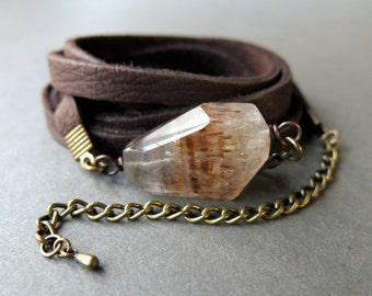 Quartz Bracelet - Boho Bracelet - Leather Crystal Bracelet - Boho Crystal Wrap Bracelet - Super Seven Jewelry - Quartz Crystal Jewelry