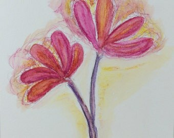Original Water Color Painting, 6X8, Waltz, Pink, Purple, Orange, Yellow