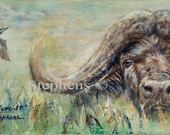 The Eyes Have It, s/n limited edition print of 195 from the original oil painting of a Cape Buffalo, south Africa artwork, african buffalo