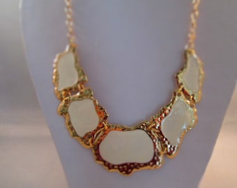 SALE Bib Necklace with Gold Tone and White Pendants on a Gold Tone Chain