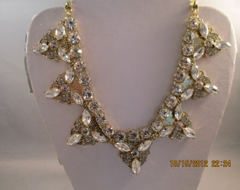 Gold Tone and Clear Crystal and Rhinestone Pendant Necklace on a Gold Tone Chain