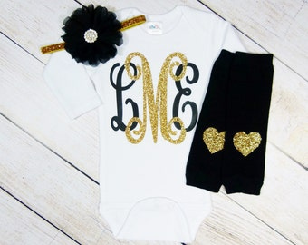 Personalized Baby Girl Clothes, Personalized Monogram Baby Gift, Black Gold, Unique Newborn Girl Coming Home Outfit, Customized Baby Items