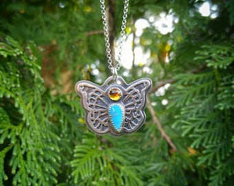 Sleeping Beauty Turquoise and Citrine Butterfly Pendant. Nature Inspired Layered Sterling Silver Pendant. Dragonfly and Flower on Reverse.