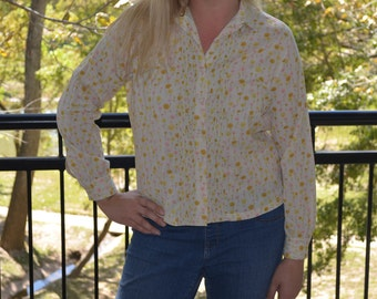Women's Vintage Shirt, Button Up Blouse, Ship N Shore Ladies' Flowered Blouse 60's, Floral Collared Shirt