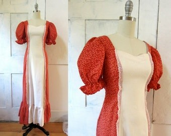 70s Vintage Red and White Prairie Dress - Maxi Dress - Calico Print - Puff Sleeve - Tie Back Waist - Little House on the Prairie - Lace
