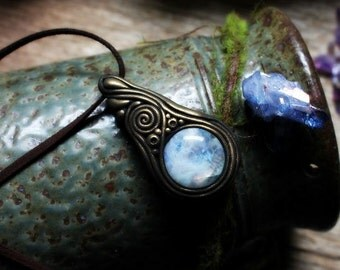 Moonstone Necklace. Spirit Shift Necklace. Handcrafted Clay & Gemstone Pendant.