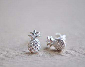 Pineapple Post Earrings - Pineapple Stud Earrings - SIiver Pineapple Earrings - Pineapple Jewelry - Gift For Women