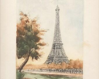 Paris Original Eiffel Tower Color Etching, Signed 1946. Post WW2