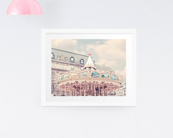 Paris Photography Print, Carousel print, Merry-go-round print, Paris nursery print, Carousel wall decor, Large wall print, Wall prints