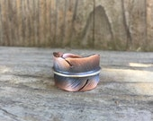 Feather ring - copper, brass or sterling silver- adjustable - unisex - handmade