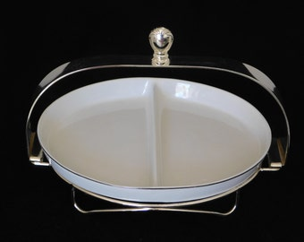 International Silver Company Serving Dish with Caddy, Silver Plated