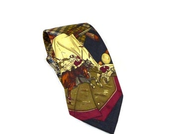 FINAL SALE Vintage Polo Ralph Lauren tie - actual polo scene, men, horses, sport - novelty necktie red blue brown yellow