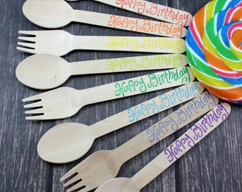 Happy Birthday, You Pick Colors and Utensil Type, 12 Hand Stamped Wooden Forks, Spoons, Knives, Wooden Utensils, Cutlery, Silverware Rainbow