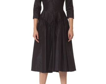 Vintage 1950s New Look Dress with Pleated Hips Size: XS/S