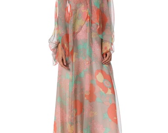 1970s Floral Printed Flowy Chiffon Maxi Halter Dress with Long Sleeve Cape SIZE: S, 4