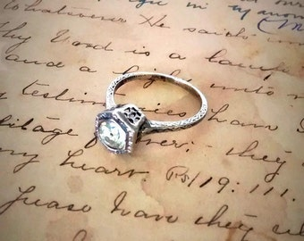 Art Deco Engagement Ring, Sterling Silver, Filigree Bezel Setting,Round Cut Clear Quartz Stone, Size 6.25, Antique