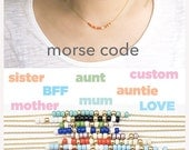 Custom Morse Code Necklace, Gold / Silver, 8 Color Option, Bridesmaid Wedding Girlfriend Birthday Gift, Bohemia Boho Jewelry MC ej wj