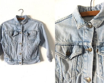 Stone Wash Levis Jean Jacket - Cropped Vintage Denim Jacket - Distressed 90s Acid Wash Faded Trucker Jacket - Womens XXS