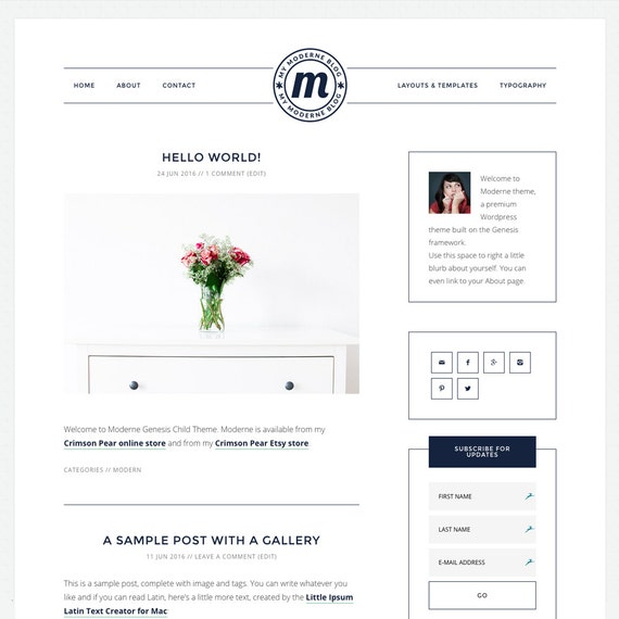 WordPress Theme - Genesis Child Theme - Responsive WordPress Theme - Blog theme template: Moderne