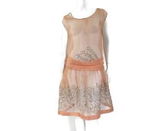 Art Deco Peach Silk Chiffon Dress Drop Waist with Cutout Embroidery Work