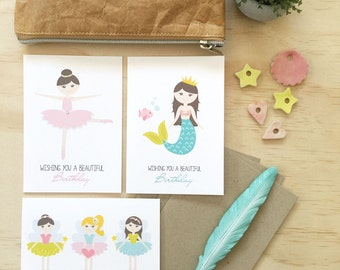 Birthday Girl Card Pack - Set of 3 Cards - CP3_009 - fairies, ballerina, mermaid - Cards for Girls - Happy Birthday Cards