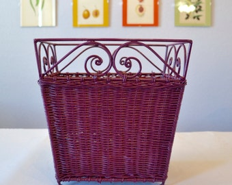 Plum Trash Can Rubbish Bin Wicker and Iron Waste Basket Rustic Trash Basket Aubergine Decor Distressed Wood and Metal Rich Red Violet Paint