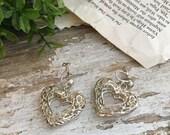 Reserved Debra Filigree Heart Dangle Earring Sterling Screwback