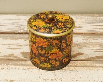 Mid Century Floral Tin Handle ENGLAND