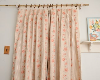 Floral Curtain Panels Pinch Pleats Peach
