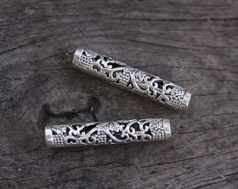 5 (5mm/3/16 Inch) Tibetan Style Silver Dreadlock Beads