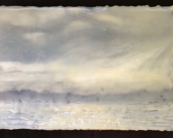 evening mist 6x9in  original encaustic painting, peaceful, landscape, clouds, islands, impressionist
