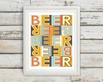 Beer, Beer Sign, Home Decor, Beer Signs, Beer Art, Beer Wall Decor, Beer Artwork, Beer Art Print, Mid Century Modern Art, Beer Wall Art
