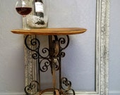Side Table Wine Barrel Top Heavy Iron Scroll Base French Winery Barrel Top