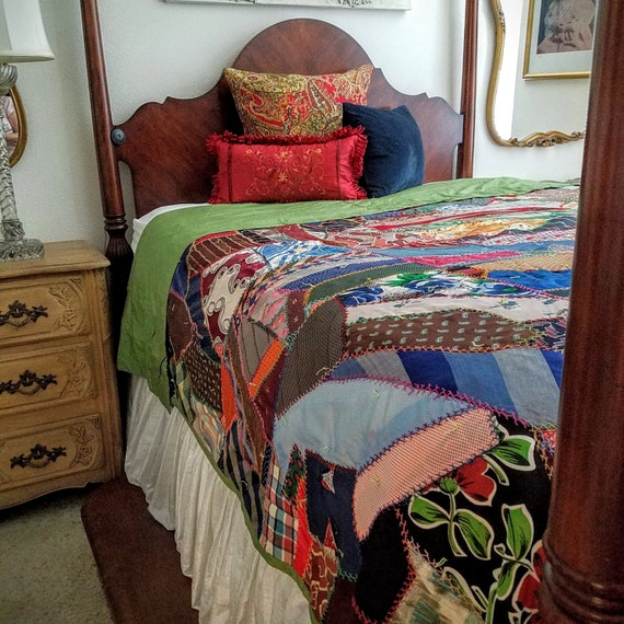 """Vintage Quilt 106""""x 84"""" Crazy Quilt Silk Neckties Hand Stitched Embroidered Hand Tied Quilt"""