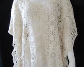 Boho Crocheted Blouse/Top /Ecru/ Origami/Butterfly sleeves  /Tunic