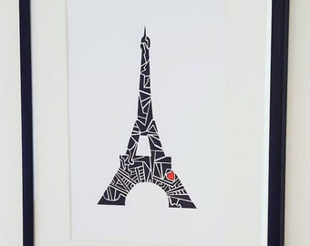"Eiffel Tower  Art - Love Paris Eiffel Tower  Print - A5 (5.8"" x 8.3"")"
