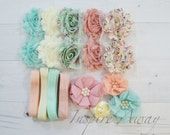 Shabby Chic headband kit #7 , baby shower headband kit, DIY baby headbands, headband station, shabby chic baby headbands