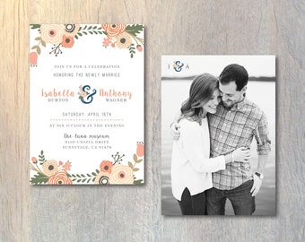 Rustic Wedding Reception Invitation Card - Photo Wedding Invitation - Floral Monogram Invitation - Printable DIY