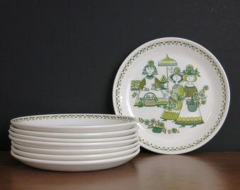 "Vintage Figgjo Flint Market Dessert Plates - Turi-Design Scandinavian Design - Figgjo Norway Market Pie Plates - 6.75"" Plates - 5 Available"