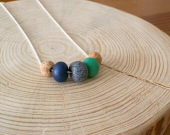 Bead necklace wife, cork necklace, cork beads necklace, cork jewelry, Clair de lune