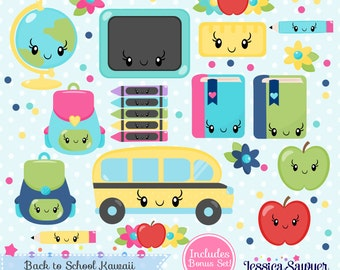 INSTANT DOWNLOAD, school kawaii clipart and teacher vectors for personal and commercial use
