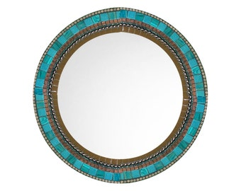 Round Wall Mirror, Brown and Aqua Mosaic, Decorative Mirror, Mosaic Mirror, Wall Decor, Brown Teal Home Decor - SALE