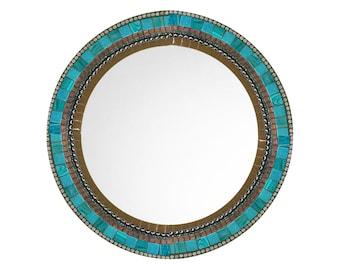 Round Wall Mirror, Brown and Aqua Mosaic, Decorative Mirror, Mosaic Mirror, Wall Decor, Brown Teal Home Decor - SALE