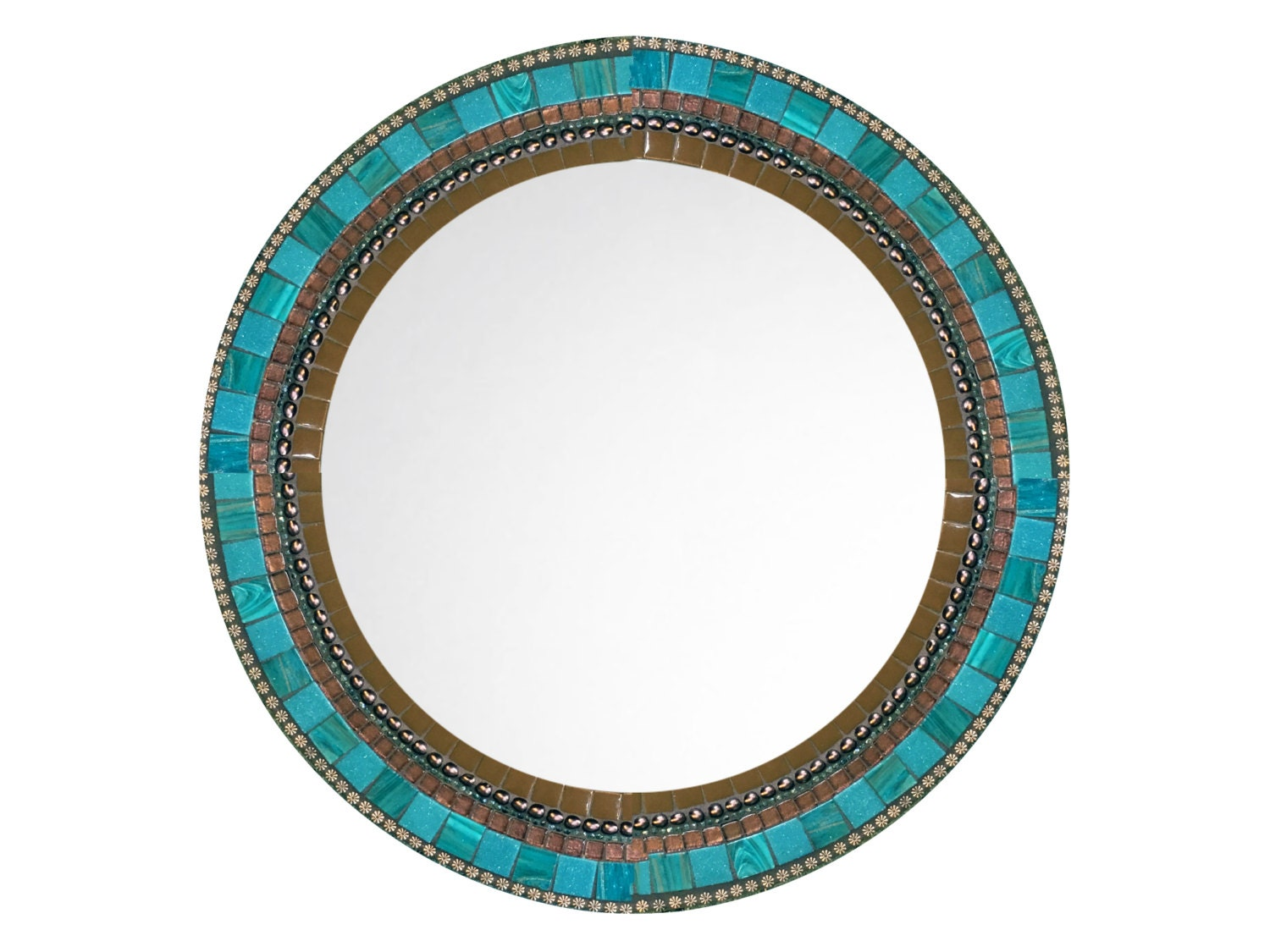 Round wall mirror brown and aqua mosaic decorative mirror Round decorative wall mirrors