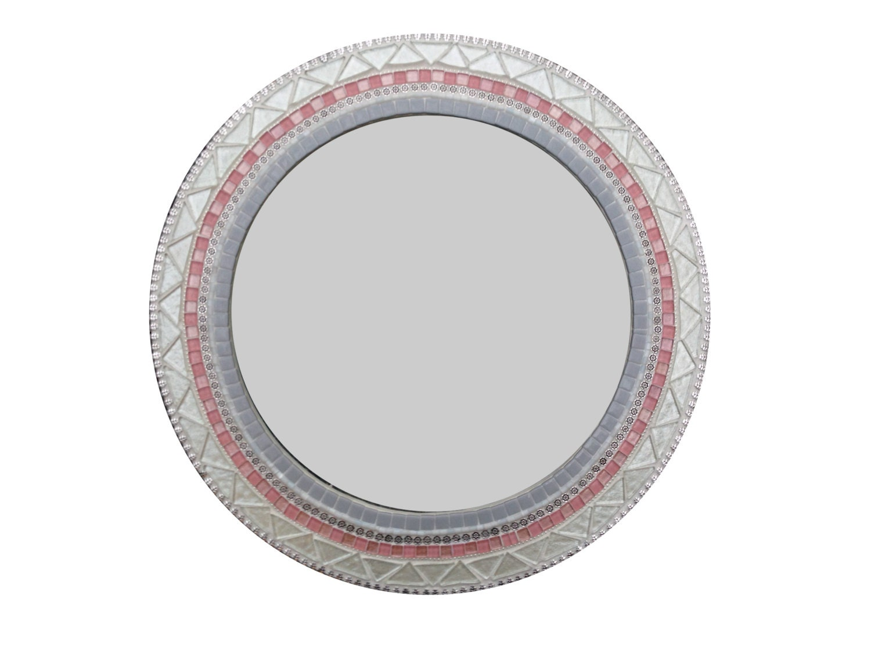 Round Wall Mirror / Nursery Decor / Pink Gray White Mosaic